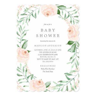 Soft Garden Florals Baby Shower Invitations