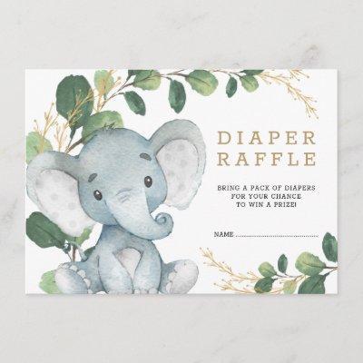 Soft Greenery Gold Baby Elephant Diaper Raffle Enclosure Card