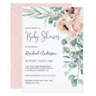 Soft Pastel Girl Baby Shower Invitation