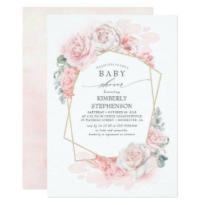 Soft Pastel Pink Flowers Elegant Baby Shower Invitation