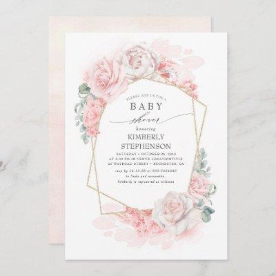 Soft Pastel Pink Flowers Elegant Baby Shower Invitation