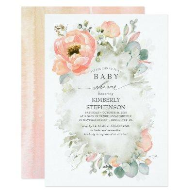 Soft Peach Flowers Elegant Spring Baby Shower Invitation