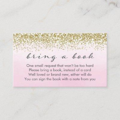 Soft Pink and Gold Baby Shower Book Request Card