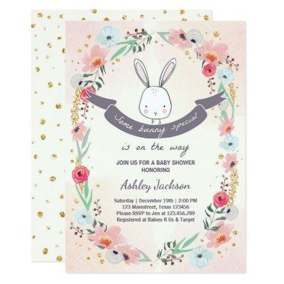 Some Bunny Special Baby Shower Invitations Floral