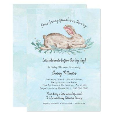 Some-bunny special book baby shower for boy Invitations