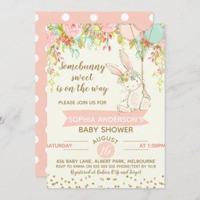 Somebunny Sweet Bunny Baby Shower Invitation