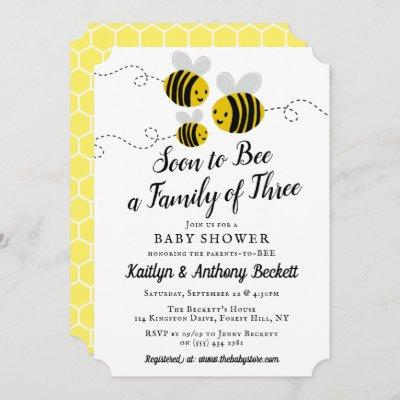 Soon To Bee A Family Of Three | Baby Shower Invitation
