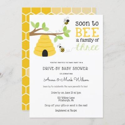 Soon to Bee a Family of Three Drive-By Baby Shower Invitation