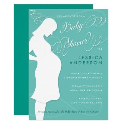 Sophisticated Mom to Be Teal Blue Baby Shower Invitation