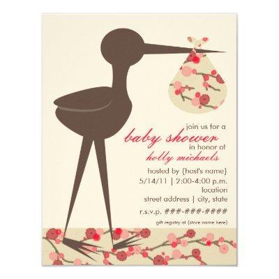 Sophisticated Stork Cherry Blossom Baby Shower Invitations