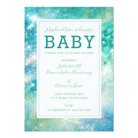 Space Teal Aqua Galactic Starry Baby Shower Card