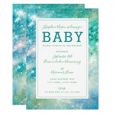 Space Teal Aqua Galactic Starry Baby Shower Invitations