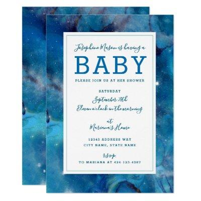 Space Turquoise Blue Galactic Starry Baby Shower Invitations