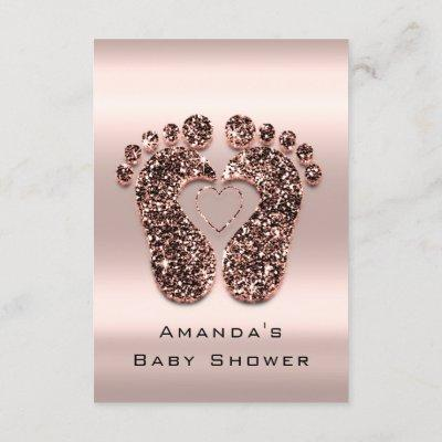Spark Glitter Baby Shower Feet Rose Skin Blush VIP Invitation