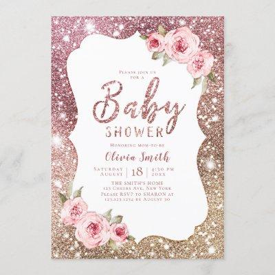 Sparkle rose gold glitter and floral baby shower invitation