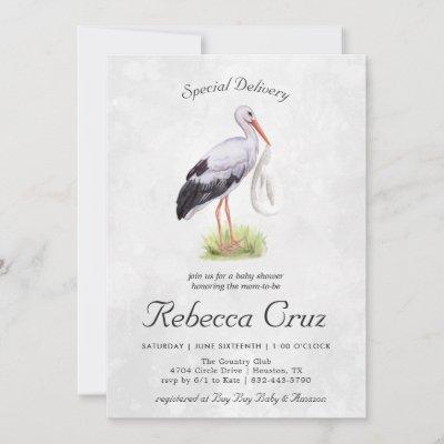 Special Delivery | Elegant Watercolor Stork Baby