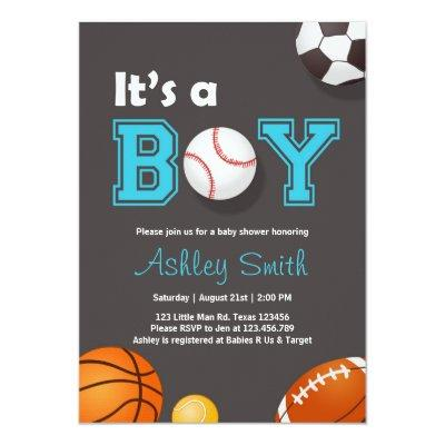 Sports Baby Shower invite Its a boy Blue brown