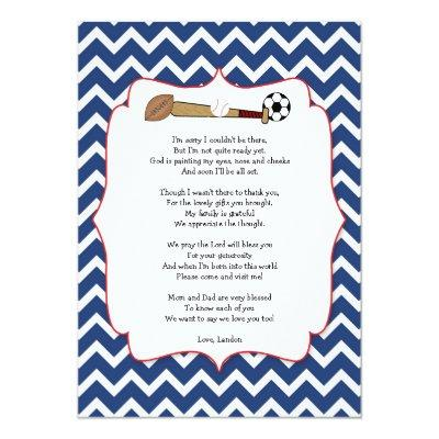 Sports theme baby shower gift POEM thank you note Invitations