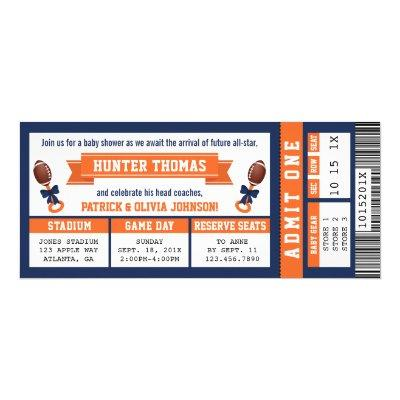 Sports Ticket Baby Shower Invitation, Blue, Orange Invitation