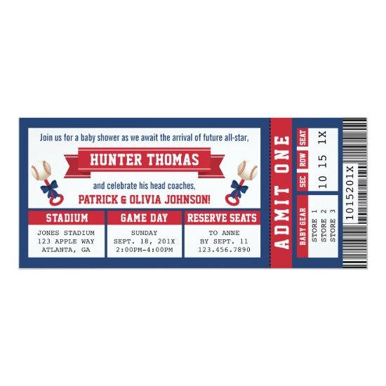 7cfb235859204 Sports Ticket Baby Shower Invitations, Blue, Red Card | Baby Shower ...