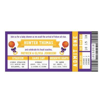 Sports Ticket Baby Shower Invitation, Purple, Gold Invitation