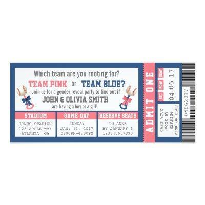 Sports Ticket Gender Reveal Invitation, Baseball Invitations