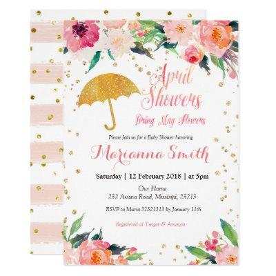 Spring April Shower Bring May Flowers Invitation