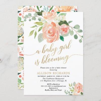 Spring baby girl is blooming peach greenery shower invitation