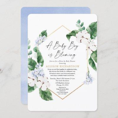 Spring Drive by baby shower baby boy blooming Invitation
