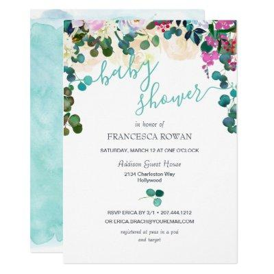 Spring Eucalyptus Floral Baby Shower Invitation