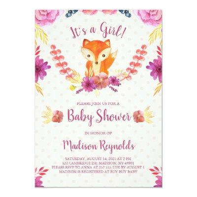 Spring Floral and Fox Baby Shower Invitation