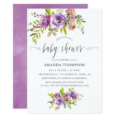 Spring Floral Watercolor Baby Shower Invitation
