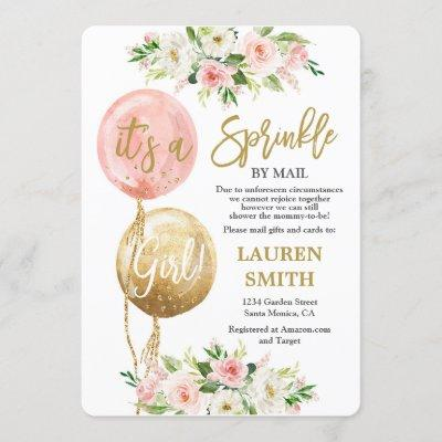 Sprinkle by Mail pink balloons baby shower girl Invitation