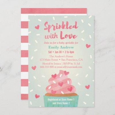 Sprinkled With Love Cupcake Baby Sprinkle Shower Invitation