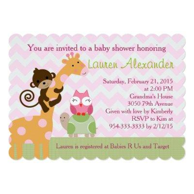 Sprinkles Jungle Animals Baby Shower Invitation