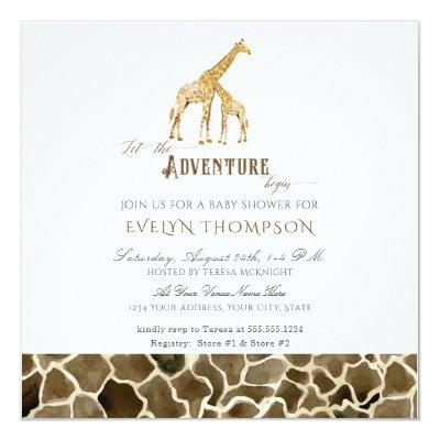 Square Modern Safari Adventure Baby Shower Giraffe Invitations