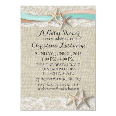 Starfish and Ribbon Aqua Peach Baby Shower Invitations