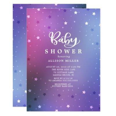 Starry Night Girls Baby Shower Invitation