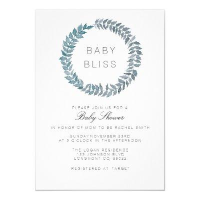Steel Blue Vine | Watercolor Wreath Baby Shower Invitations