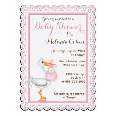 Stork and Eyelet Lace Invitations