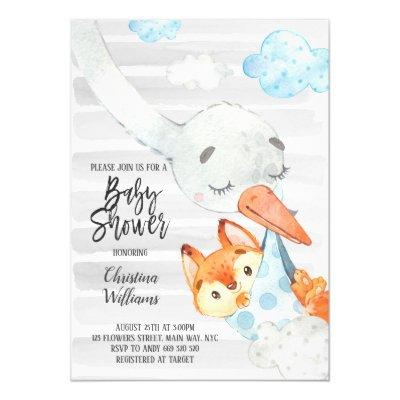 Stork and Fox Cub Boy Baby Shower Blue & Grey Cute Invitation