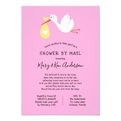 Stork Baby Shower by Mail Invitations