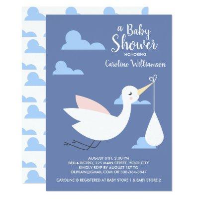 Stork Baby Shower Invitation Baby Bundle & Clouds