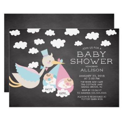 Stork & Boy Girl Twins Baby Shower Invitations