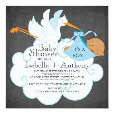 Stork Chalkboard African American Boy Baby Shower Invitation