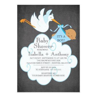 Stork Chalkboard African American Boy Baby Shower Invitations