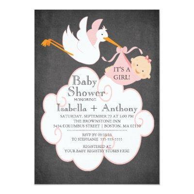 Stork Chalkboard GIRL Baby Shower Invitatation Invitations