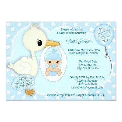 Stork Delivery baby shower Invitations BOY BLUE 2A