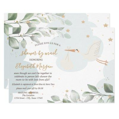 Stork Delivery,Clouds,Stars,Baby Shower By Mail Invitation