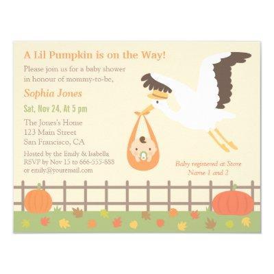Stork Delivery Lil Pumpkin Invitations